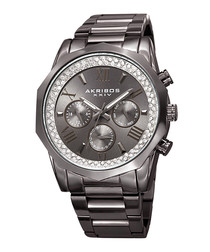 Gunmetal-tone steel & crystal watch