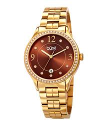 Gold-tone steel Swarovski sunray watch