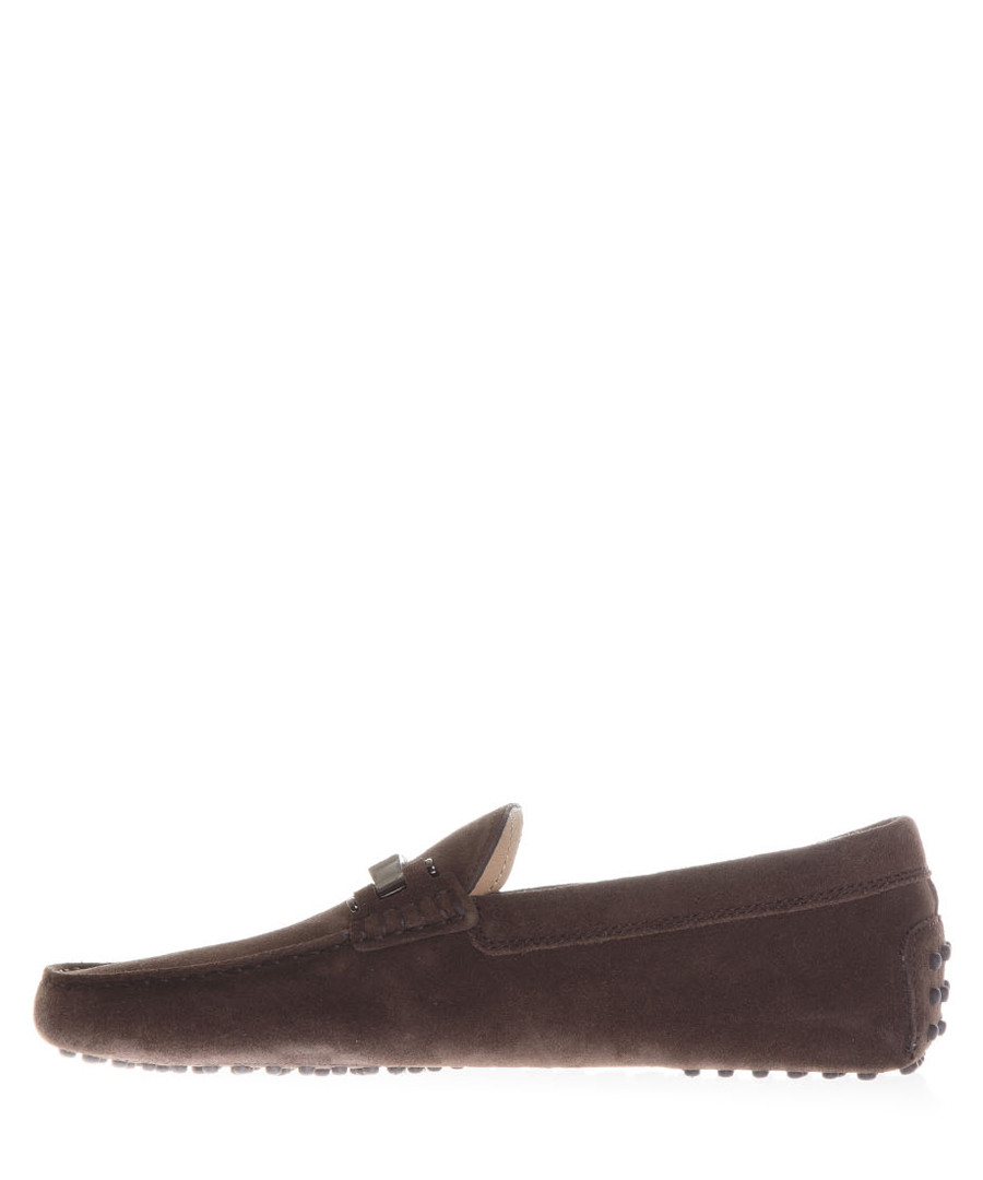 Men's brown suede horsebit drivers  Sale - tod's