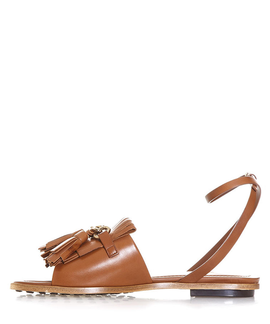 Brown leather fringed sandals Sale - tods