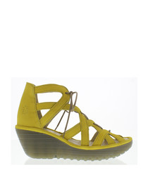Yeli lemon yellow suede caged wedges