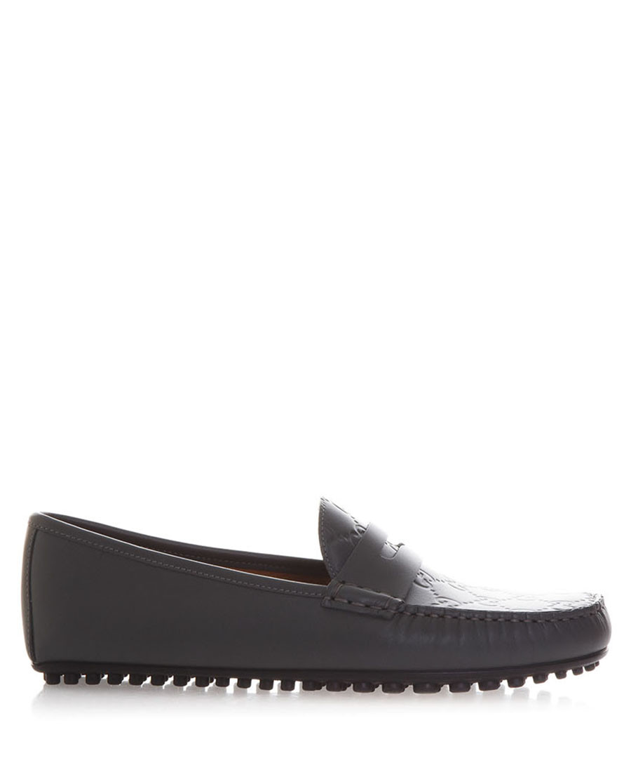 Men's dark grey leather jacquard loafers Sale - gucci