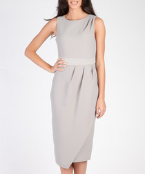 Grey ruched knee-length dress