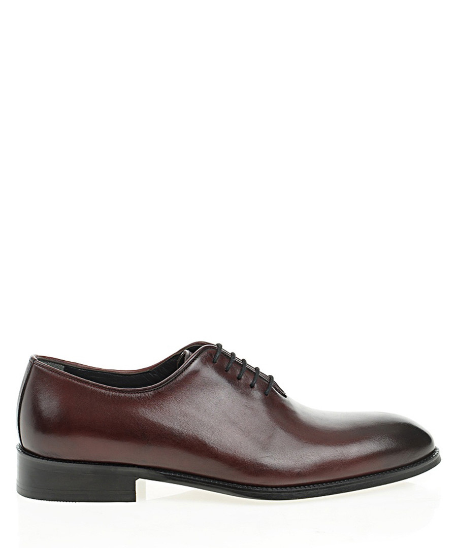 Claret red leather Derby shoes Sale - Bramosia