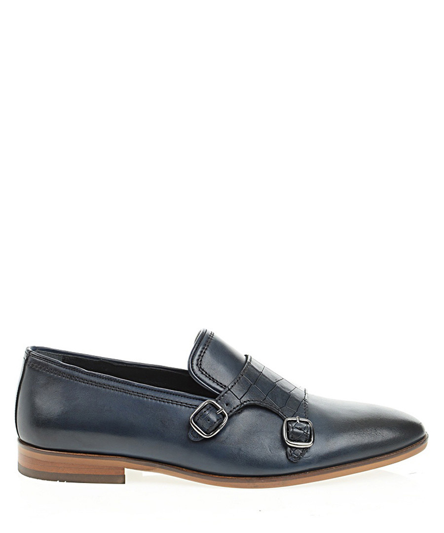 Navy blue leather monk strap loafers Sale - Bramosia