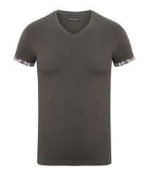 Asphalt grey cotton V-neck T-shirt