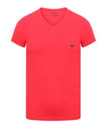 Neon pink V-neck logo T-shirt