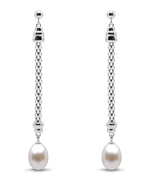 0.8cm sterling silver & pearl earrings