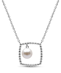 0.55cm pearl & sterling silver necklace