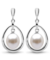 0.8cm pearl caged drop earrings