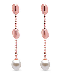 0.75cm pearl rose gold-plated earrings