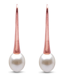 0.8cm pearl & rose gold-plated earrings
