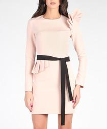 Pink ruffle detail mini dress