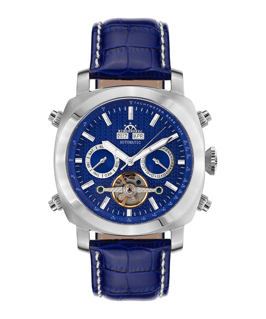 Skyray blue & silver-tone leather watch Sale - hindenberg