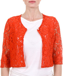 Buia bright red cotton blend lace jacket