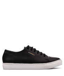 Black & white leather logo sneakers