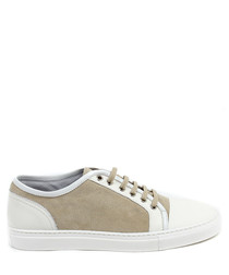 Cream suede & leather panel sneakers