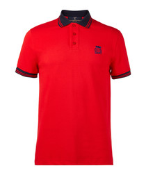 Red pure cotton polo shirt