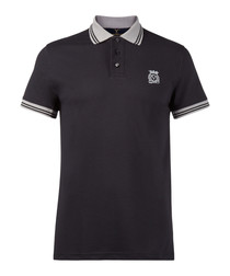 Dark grey pure cotton polo shirt