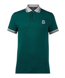 Dark green pure cotton polo shirt