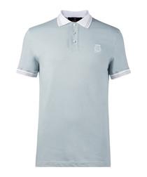 Light grey pure cotton polo shirt