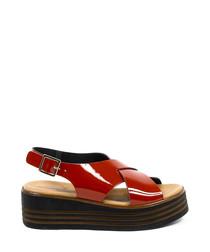 Red leather crossover flatform sandals