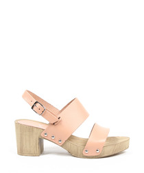 Pale pink leather block heel sandals