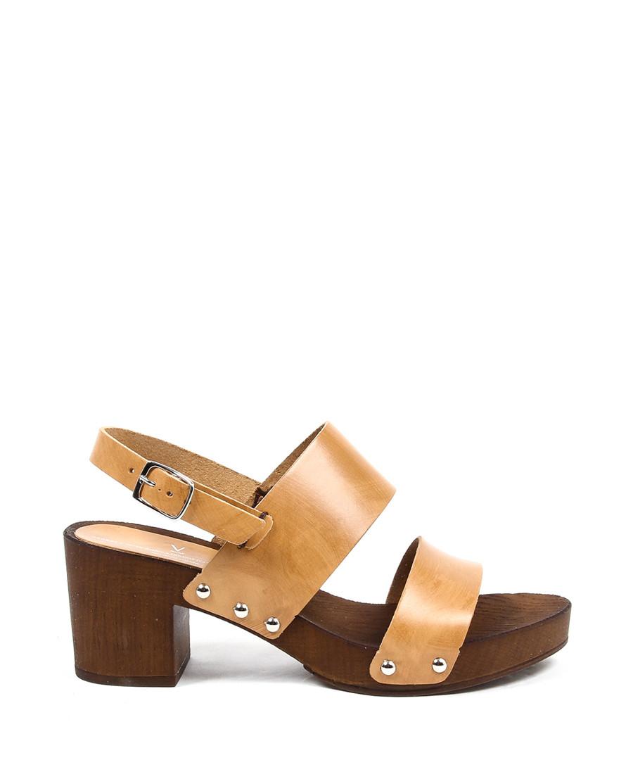 Tan leather block heel sandals Sale - versace 1969 abbigliamento sportivo srl milano italia