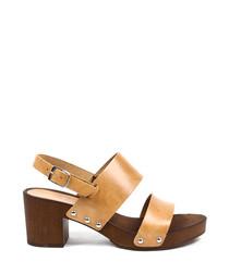 Tan leather block heel sandals
