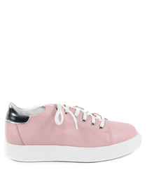 Pink leather platform sneakers