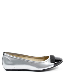 Silver & black leather ballerina flats