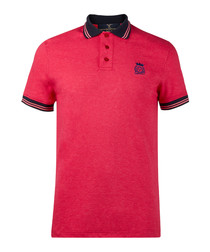 Coral & fuchsia pure cotton polo shirt