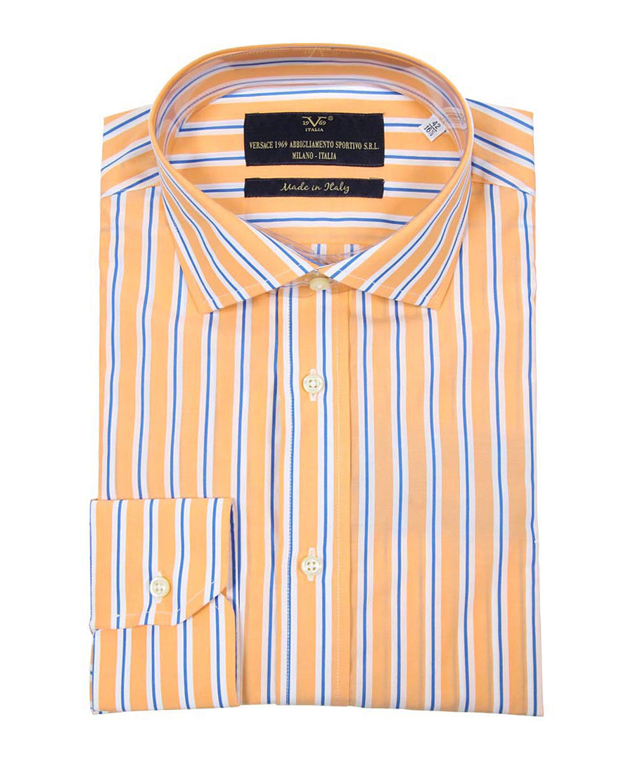 Orange & blue cotton stripe shirt Sale - VERSACE 1969 ABBIGLIAMENTO SPORTIVO SRL