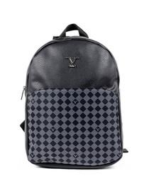 Black & grey leather monogram backpack