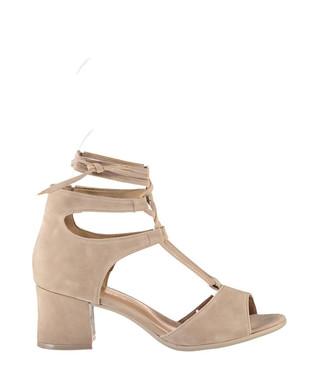 f76196a34538 Beige suede peeptoe heeled sandals Sale - Fox Shoes Sale