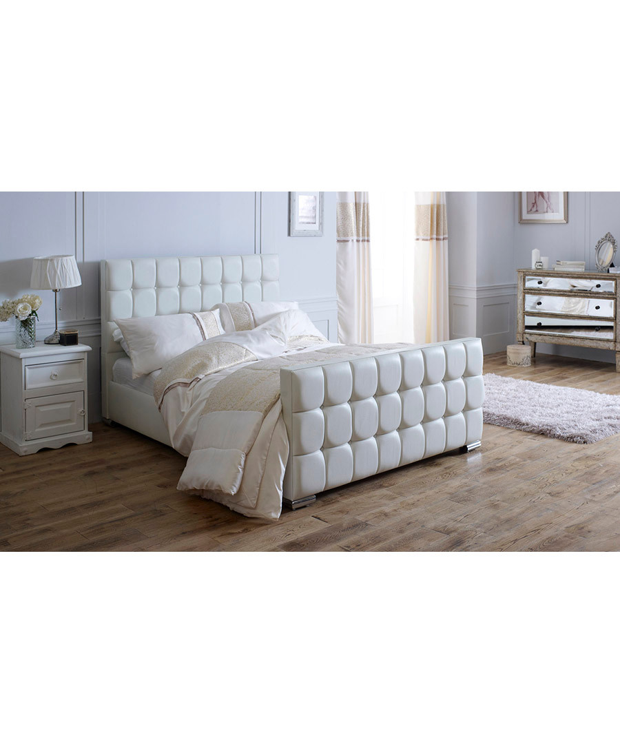 Discount Gatsby White Double Sleigh Bed Frame Secretsales