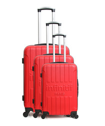 3pc Luton red spinner suitcase set