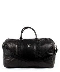 Black leather logo holdall bag
