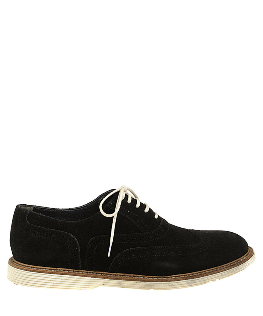 Black leather perforated lace-ups Sale - Baqietto