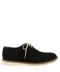 Black leather perforated lace-ups