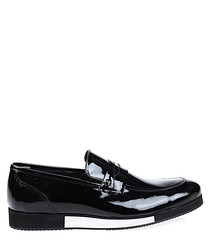 Black leather white block sole loafers