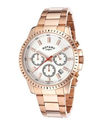 Rose gold-tone steel white watch