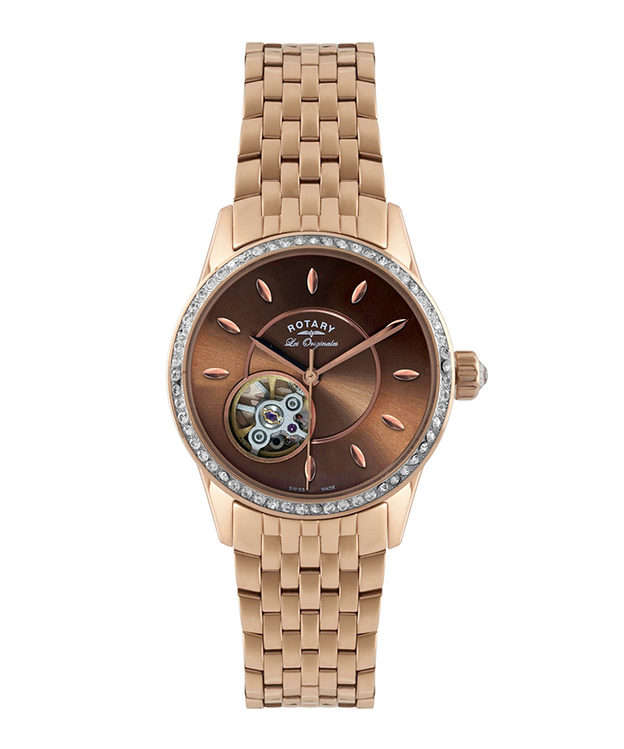 Jura gold-tone & brown link strap watch Sale - Rotary