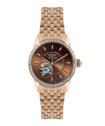 Jura gold-tone & brown link strap watch