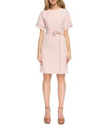 Powder pink wool blend tie dress