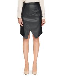 Black asymmetric split hem skirt