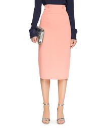 Salmon pink high-waisted pencil skirt