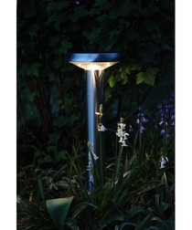 Silver-tone solar flat path light 45cm