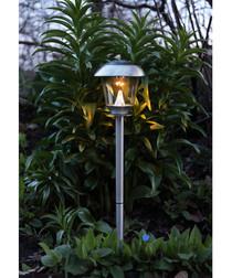 Silver-tone solar path lantern 66cm