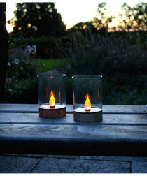 Silver-tone solar table lantern 13cm